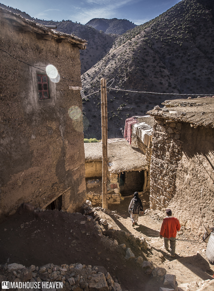 Hiking through the ancient village of Tizi Oussem in the Atlas Mountains, Morocco