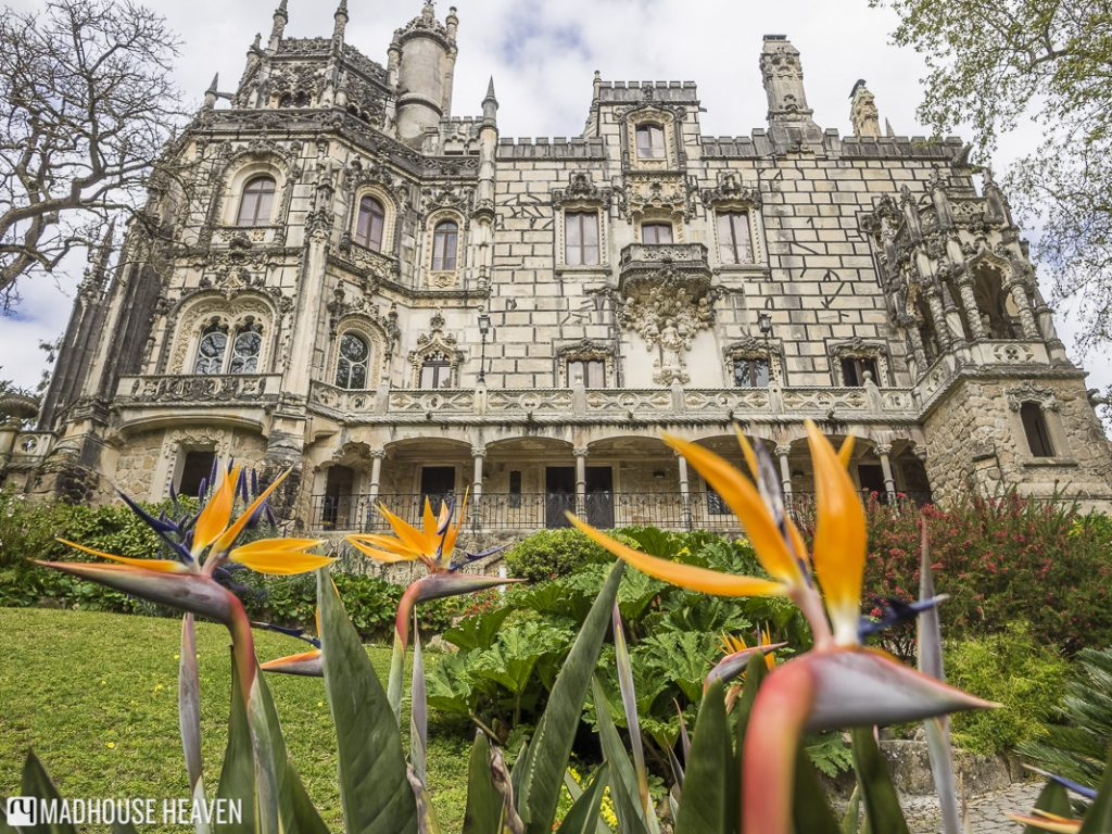 Quinta da Regaleira palace looking imposing in three point perspective from below