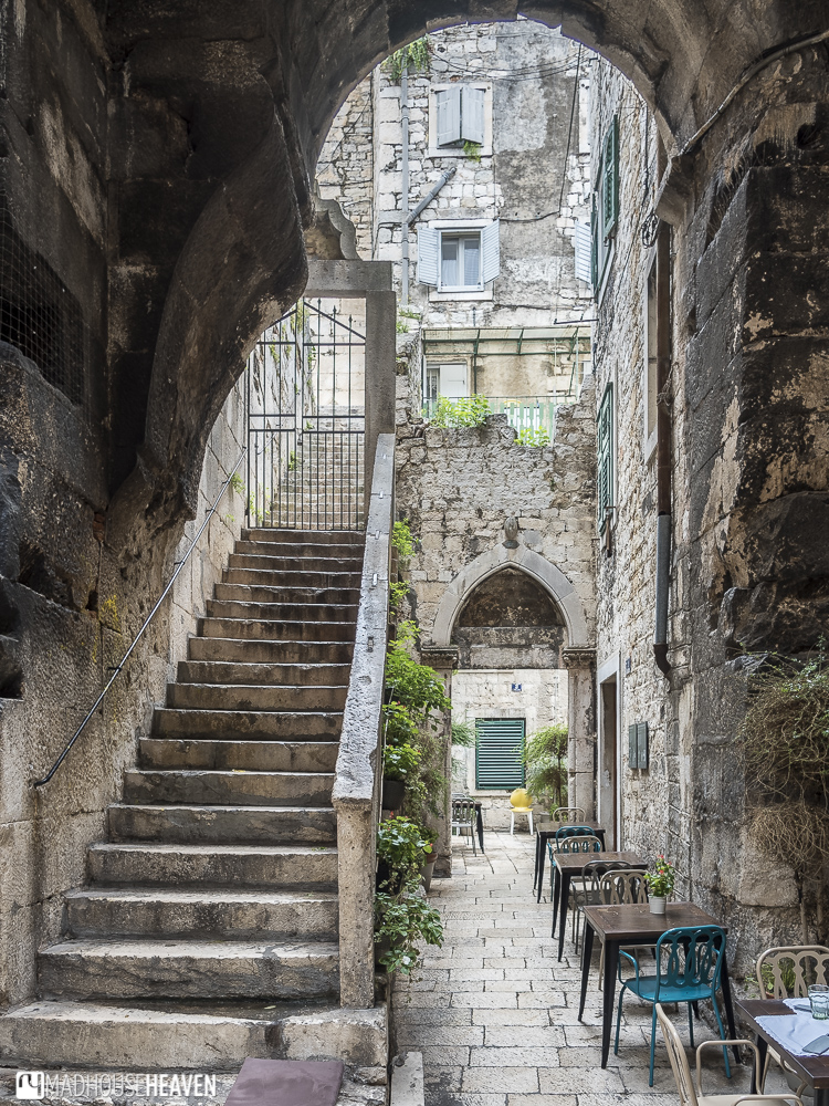 Split Living in Ancient Rome, café, alleyway, quaint streets, charming angles, old europe,