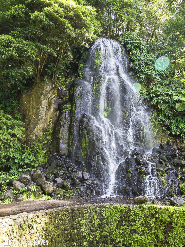 a small, artificial waterfall in the Azores