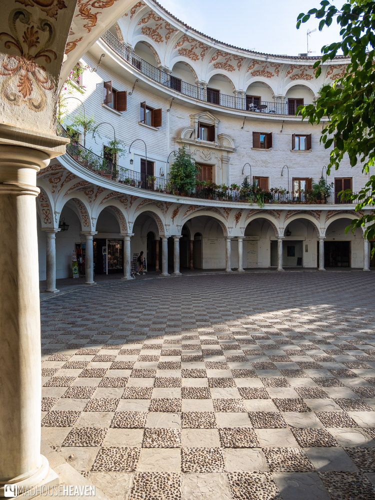 Traditional Spanish architecture - a semi-circular building around a private courtyard