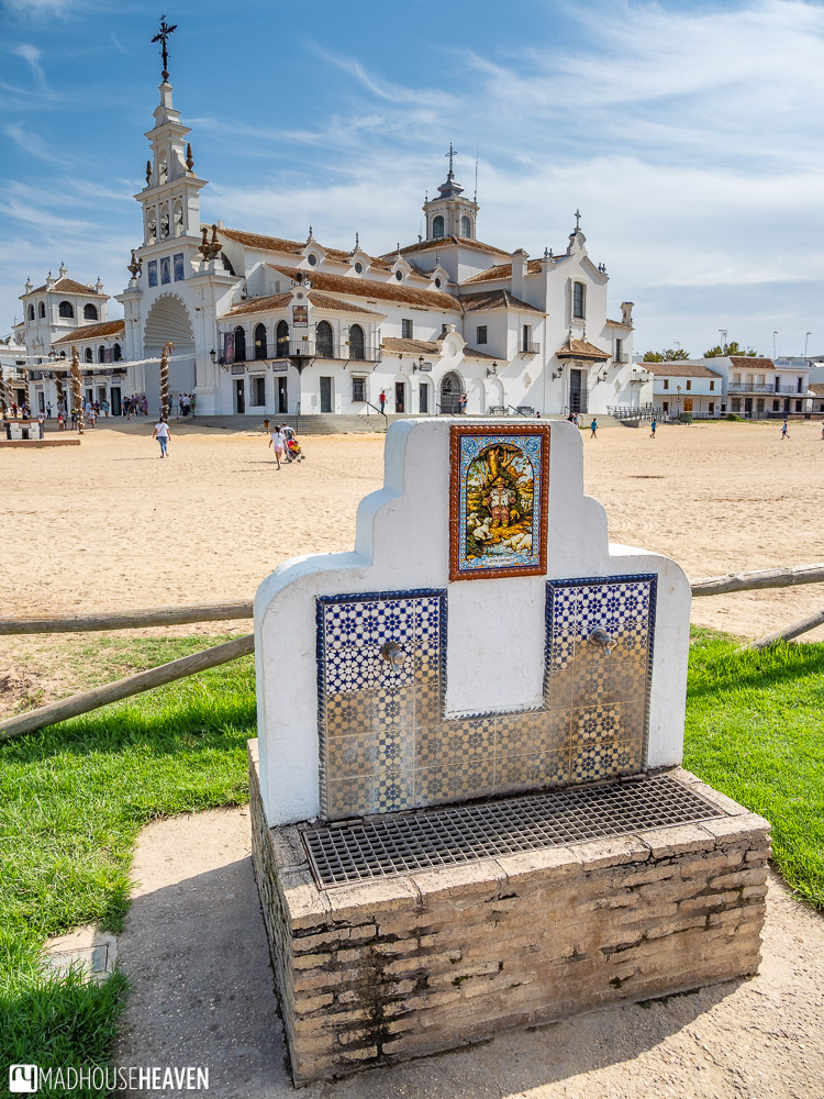 A catholic church in the outback like town of El Rocio in the Doñana National Park