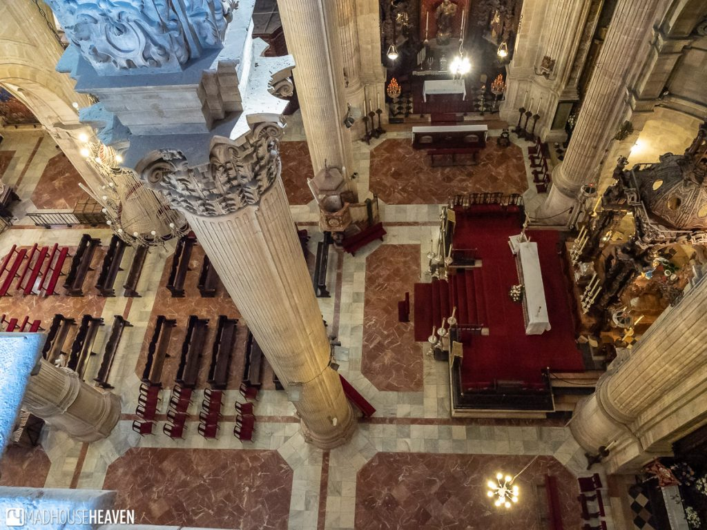 Bird's eye view of the interior of the Santa Mariá la Mayor Church, from a little balcony accessible only from the outside viewing deck