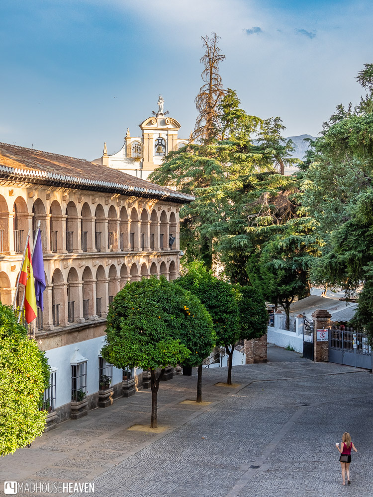 View of the main square of the Ronda old town, Plaza Duquesa de Parcent, from the church's alcoved balcony
