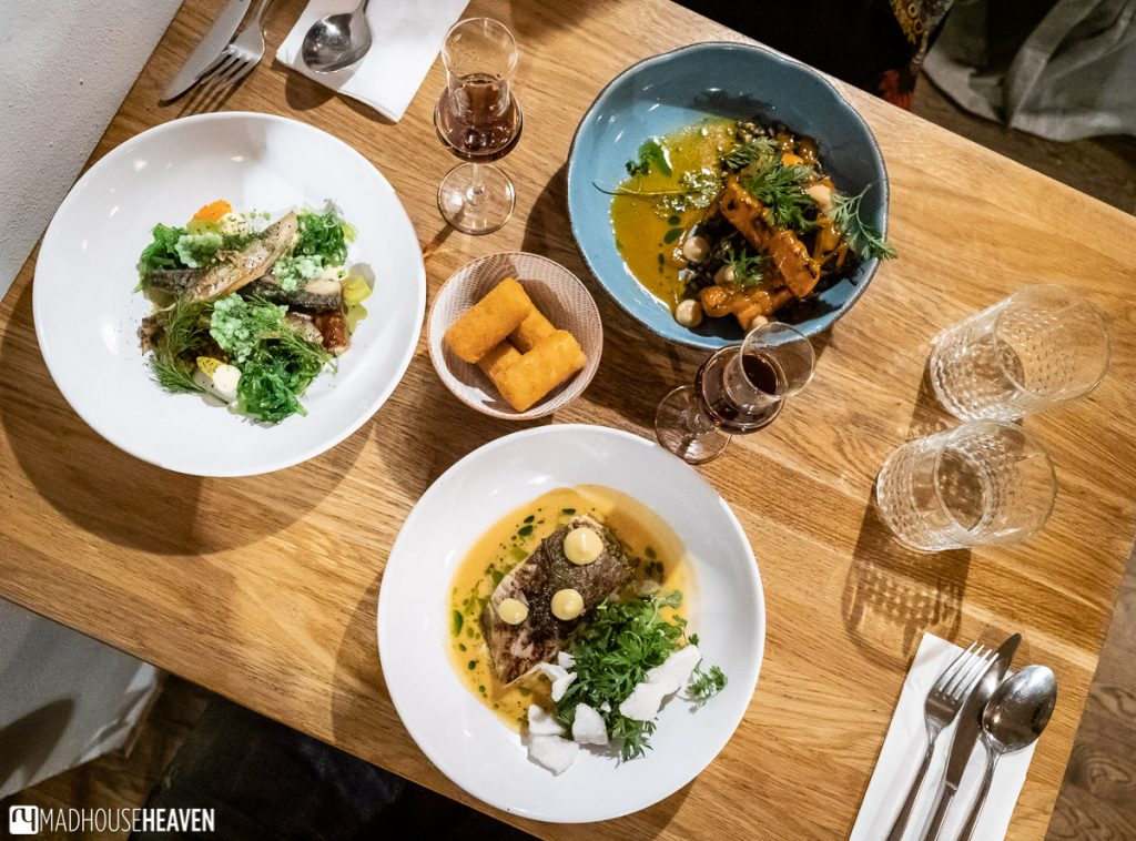Top down table view of a hipster dinner in a Czech restaurant