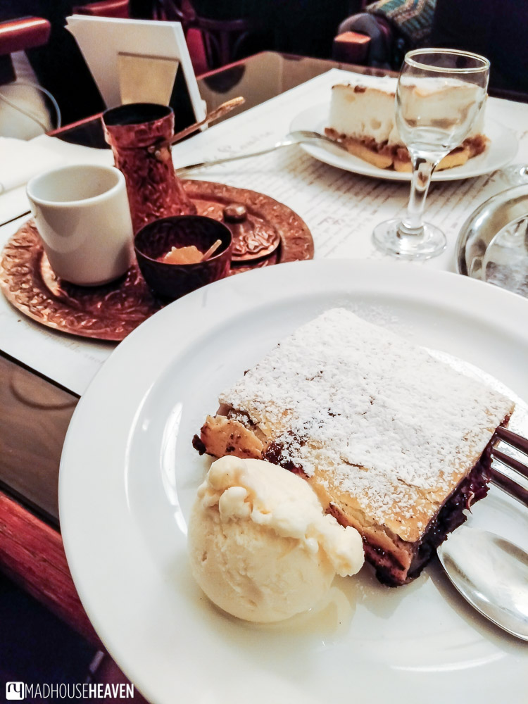 Cherry and poppyseed strudel, a staple dessert of many Prague cafés, here served with ice-cream