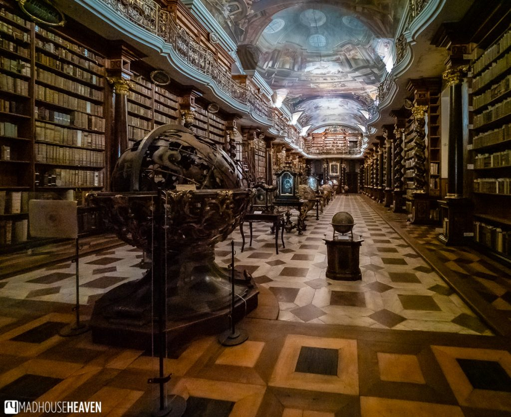 The magnificent interior if the Klementinum library, the most beautiful of the Prague Libraries