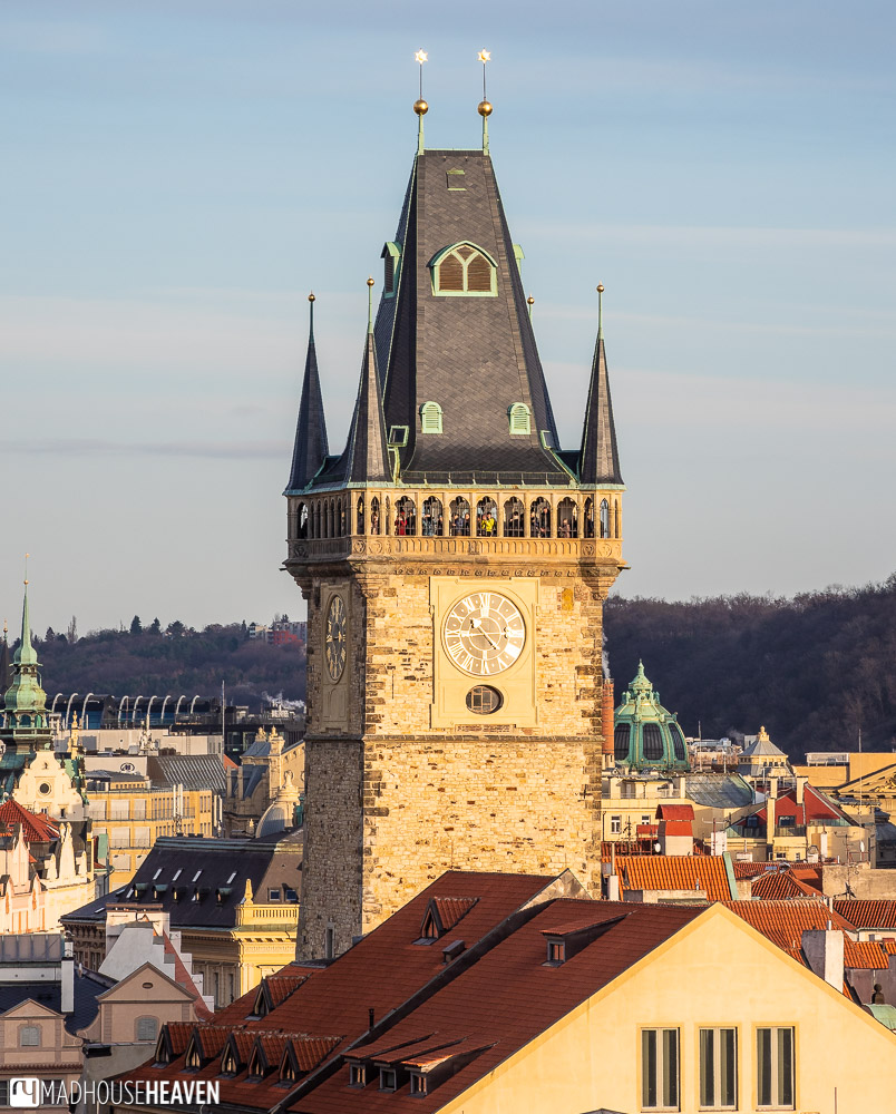 The famous Clock Tower of Prague's Old Town Hall, as seen from the Klentinum's Astronomical Tower