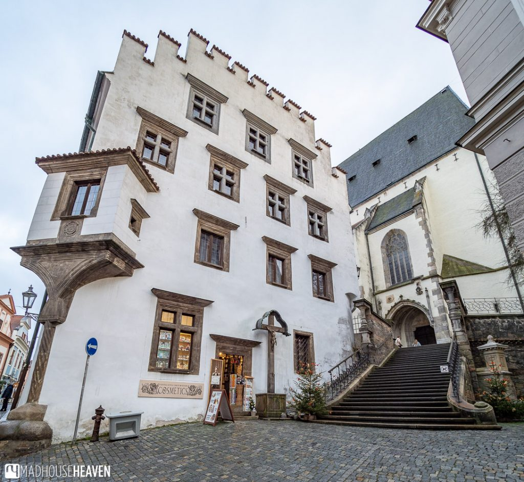 Stone steps leading towards the Gothic Cathedral of St Vitus in Český Krumlov