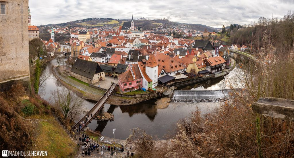 The Vltava curves tightly around the old town of Český Krumlov, with its cute red roofed houses