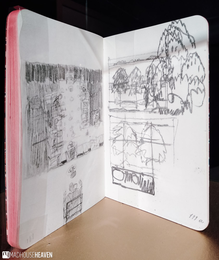 Ego Schiele's sketchbook with the sketch for the poster design of the secession exhbition of 1928 and trees along the Vlatava