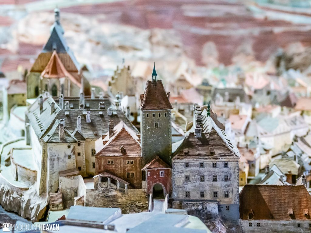 A close up from the ceramic model of Český Krumlov in the regional museum