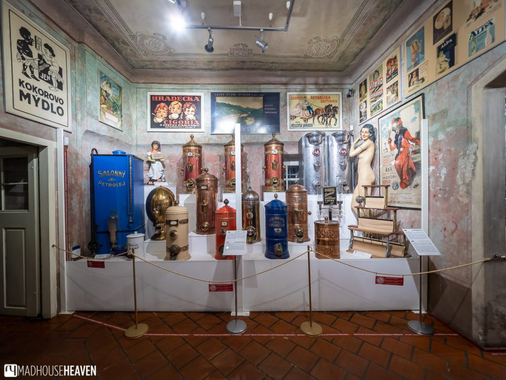 Retro style metal dispensaries from the 20th Century on display in the museum of commerce in cesky krumlov