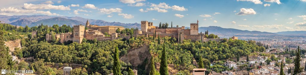 Panoramic view of Alhambra from the Mirador San Nicolás, a viewpoint on a hill across the Darro River