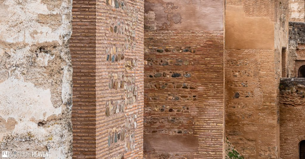 The simple lines of the impressive walls of the Alcazaba fortress in Alhambra