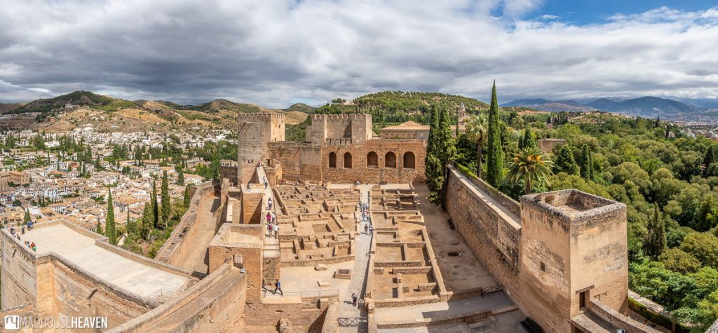 The panoramic view of the Alcazaba and the Arms Square from the Watchtower of Alcazaba