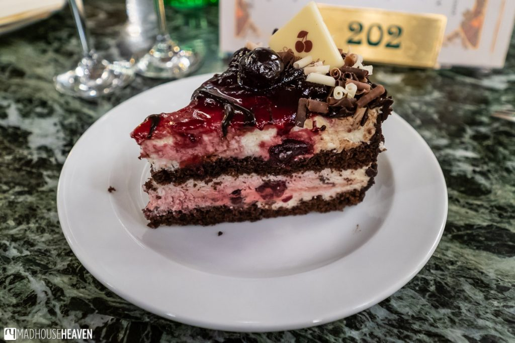 The Czech interpretation of a black forest cake is stuffed with cream and cherries