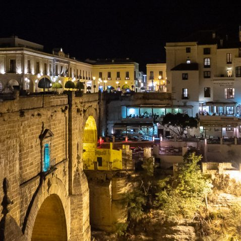 Puente Nuevo bridge in Ronda, Andalusia, Spain, at night