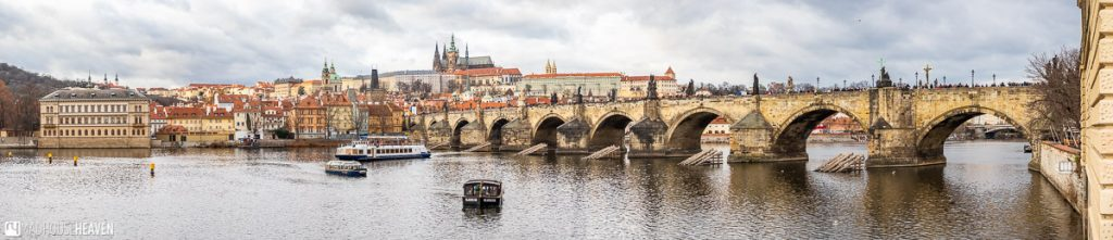 Panorama of the Charles Bridge, with the Prague Castle in the background