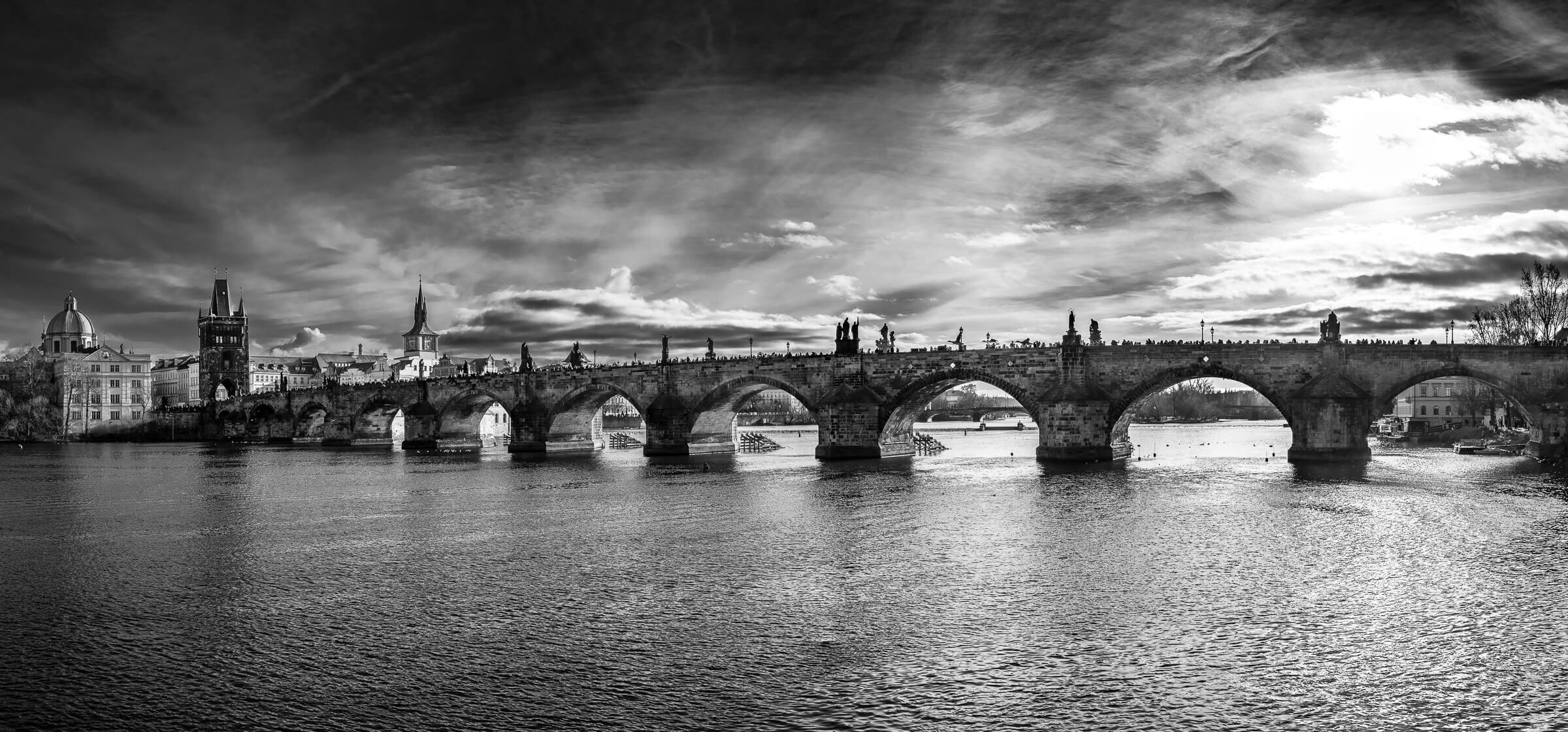 Black and White Photograph of the Charles Bridge, Prague, Czech Republic