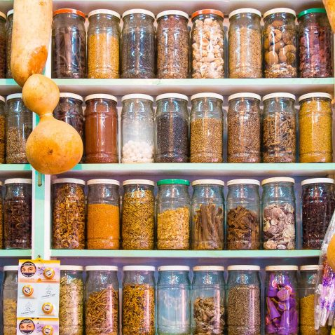 Spice Jars in the Souk Market in Marrakesh, Morocco